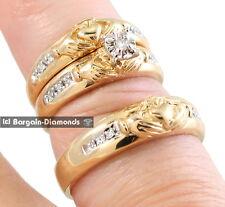 claddagh natural diamond 3-ring .12-carat wedding bridal groom comfort fit 925y
