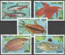 Timbres Poissons Cambodge 1048/52 o lot 18446