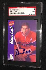 ELMER LACH SIGNED MOLSON EXPORT CARD  SGC AUTHENTICATED MONTREAL CANADIENS