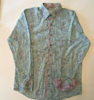 Kafe Style of Distinction Button Up Shirt Contrast Cuff & Collar Men Large