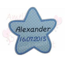Étoile avec nom et date aufbügler écusson Bügelbild patch points bleu