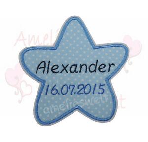 Stern mit Name und Datum Aufnäher Bügelbild Patch punkte blau personalisiert