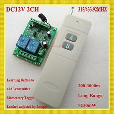 DC 12V 2 CH Relay Remote Switch Long Range Distance Remote Transmitter ASK315433
