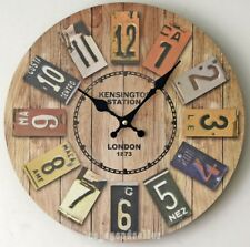 Decorative Wall Clock Vintage Silent Battery Operated Colorful Wooden Round New