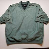 Izod Pullover Jacket Mens L Short Sleeve V-Neck Green Golf Athletic I31