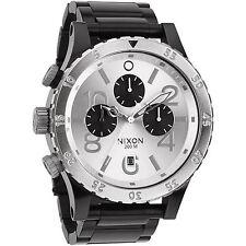 New Authentic NIXON Watch Mens 48-20 CHRONO Black Silver A486-180 A486180