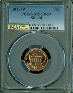 2019-W SHIELD CENT PCGS MS-69 RED PQ FINEST GRADE MAC SPOTLESS 275,000 MINTAGE