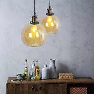Vintage Industrial Ceiling Pendant Light Retro Loft Style Glass Shade Lamp UK