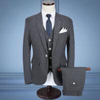 Herren Grau Tweed 3 Stück Anzüge Nadelstreifen Schlanke Hochzeitsfeier Anzüge