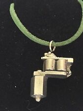 "Tattoo Gun TG55 Fine English Pewter On 18"" Green Cord Necklace"