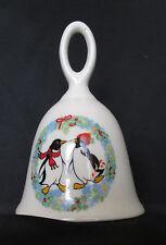"""Two Penguins In Wreath White Ceramic Dinner Bell 4 3/4"""" Tall 3 1/4"""" Diameter"""