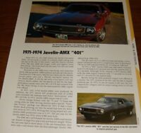 ★★1971-74 AMC JAVELIN SST AMX 401 SPECS INFO PHOTO 71 72 73 74 1972 1973 1974★★