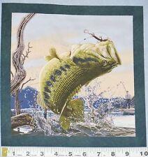"Fish Large Bass Fabric Salamander Lure Fishing 10"" Quilt Block Square Cotton #56"