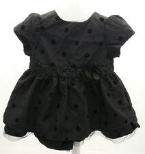 KITCHOUN robe noire à pois velours noire et paillettes argentés bébé 3 mois