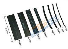 Combo Set of 218 Pcs 8 Sizes Black Assorted Heat Shrink Tube Tubing Wrap Sleeve