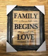 "Fetco U66861B Home Décor Wilver Family 11""x13"" Glass Quote Frame Black"