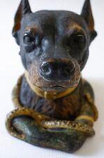 ANTIQUE 19thC COLD PAINTED BRONZE VIENNESE DOBERMAN PINSCHER DOG INKWELL ENCRIER