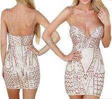 Abito Aperto ricamato Aderente Nudo Pailette Cerimonia Party Sequin Dress M