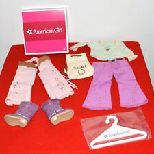 """American Girl Doll Nicki Ranch Outfit Chaps Boots Duffel Bag For 18"""" Retired NIB"""