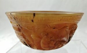 Chinese Bowl Carved Ox Horn ,Motifs Antique Collectable Qing Dynasty (1644-1911)