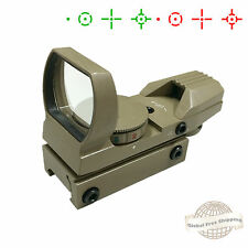 Tan Tactical Holographic Reflex Red Green Adjustable Dot Sight Scope Rail Mount