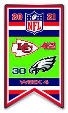 2021 Semaine 4 Bannière Broche Kansas Ville Chiefs Vs.Philadelphia Eagles Super