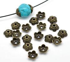 100 Perles Coupelles Fleurs 5 Pétales Couleur Bronze 10x4mm