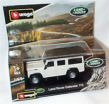 Land Rover Defender 110 White black Roof 1:47 Scale Burago new in box
