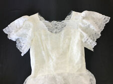 Vintage 1950's Tea Length White Lace Wedding Dress Pearls Layered Modest XS/S
