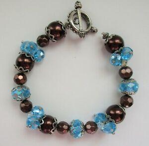 "Bronze Crystal Beaded Bracelet Filigree End Caps Toggle Clasp 7 1/2"""
