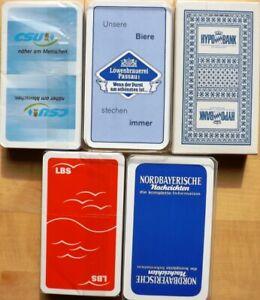 5 x Schafkopf, Tarock, Spielkarten, Kartenspiele, Werbung alle neu + unbespielt
