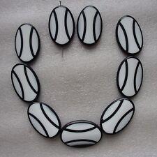 10 Large Noir Et Blanc Motif Ovale Perles Taille 45x28mm pour Artisanat et Bijoux