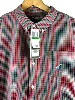 LRG Lifted Research Group Mens Large Red Blue SS Plaid Check Button Down $45