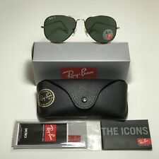 Ray-Ban Aviator Polarized Black Frame With Natural Green RB 3025 002/58 62mm Lar