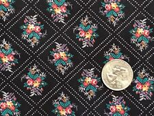 "Marcus Bros. Flower Bouquet Diamond Check Black Cotton Quilt Fabric 44"" BTHY 1/2"