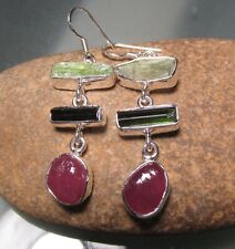 Sterling silver chunky rough ruby/tourmaline/green kyanite 11gr earrings.
