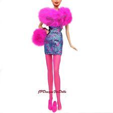 Barbie Fashion Avenue Outfit Faux Fur Boa Purse Dress Shoes Tights  NO DOLL
