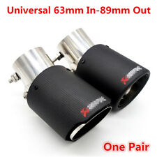 2x Universal Carbon Fiber Look 63mm In 89mm Out Car Exhaust Pipe Muffler End Tip
