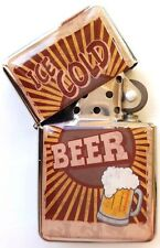 Retro Beer Design Metal Windproof Flip Top LIGHTER. Ice Cold Beer