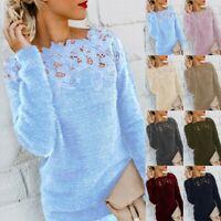 Women Winter Fluffy Sweater Jumper Long Sleeve Patchwork Pullover Blouse Tops UK