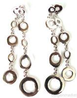"""3 3//4/"""" Long Silver Tone Circles Shoulder Duster Dangle Drop Fashion Earrings"""