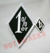 Outlaw Biker Black and White 1%er One Percenter Patch and Pin Combo