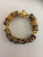 W/Royal Gold Adinkra CapCharms Yellow Bracelet African Trade Bead Ethnic Jewelry