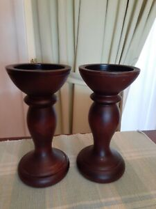 Wood Traditional Pillar Candle Holder Set of 2 pre owned Brown