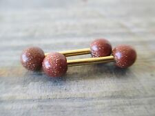 Rose Gold Full Set of 2 Goldstone Stone Barbell Nipple Piercings