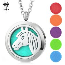30mm Horse Aroma Diffuser Pendant Necklace Stainless Steel Magnetic GCVA-409