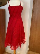 Principles Red Dress With Cutout Overlay Evening/Party Strappy Dress Size 10