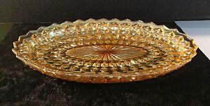 CARNIVAL GLASS OVAL SERVING DISH SCALLOPED EDGES