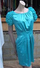 Lipsy UK 10 Gorgeous Aqua-Marine Turquoise Frilly Cap Sleeve Silky Dress