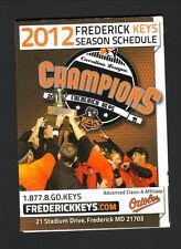2012 Frederick Keys Schedule--WFMD